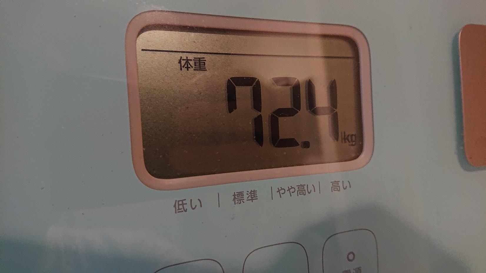 断食後の体重